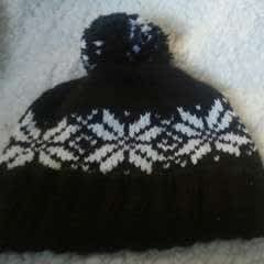 Pom Pom Knit Hat With Custom Labels