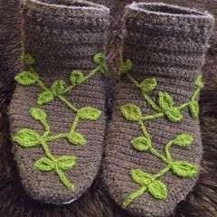 Leafy Crochet Slippers