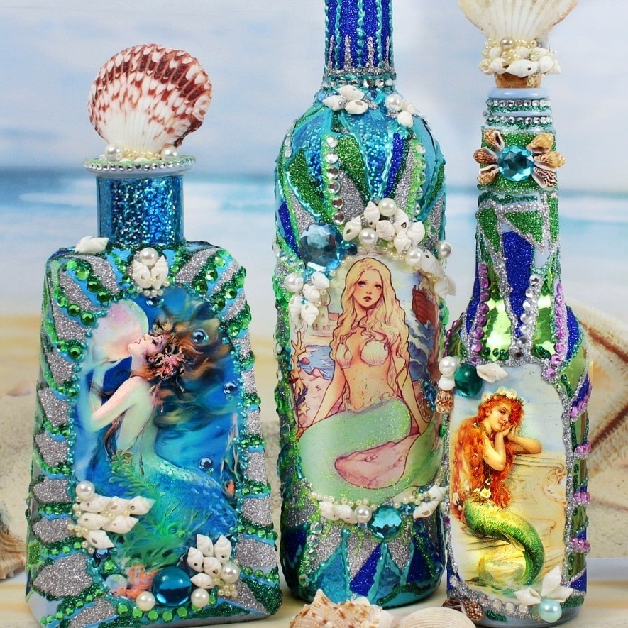 Mermaid bottles how to make a piece of seasonal decor for Mermaid arts and crafts
