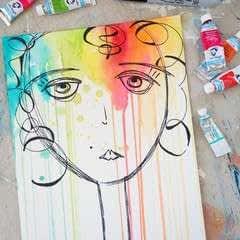 Watercolor & Pen Portrait