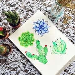 Watercolor Succulent Tutorial
