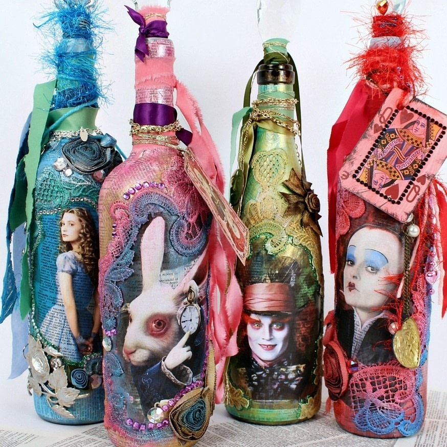 Alice Through The Looking Glass Mixed Media Bottles 183 How