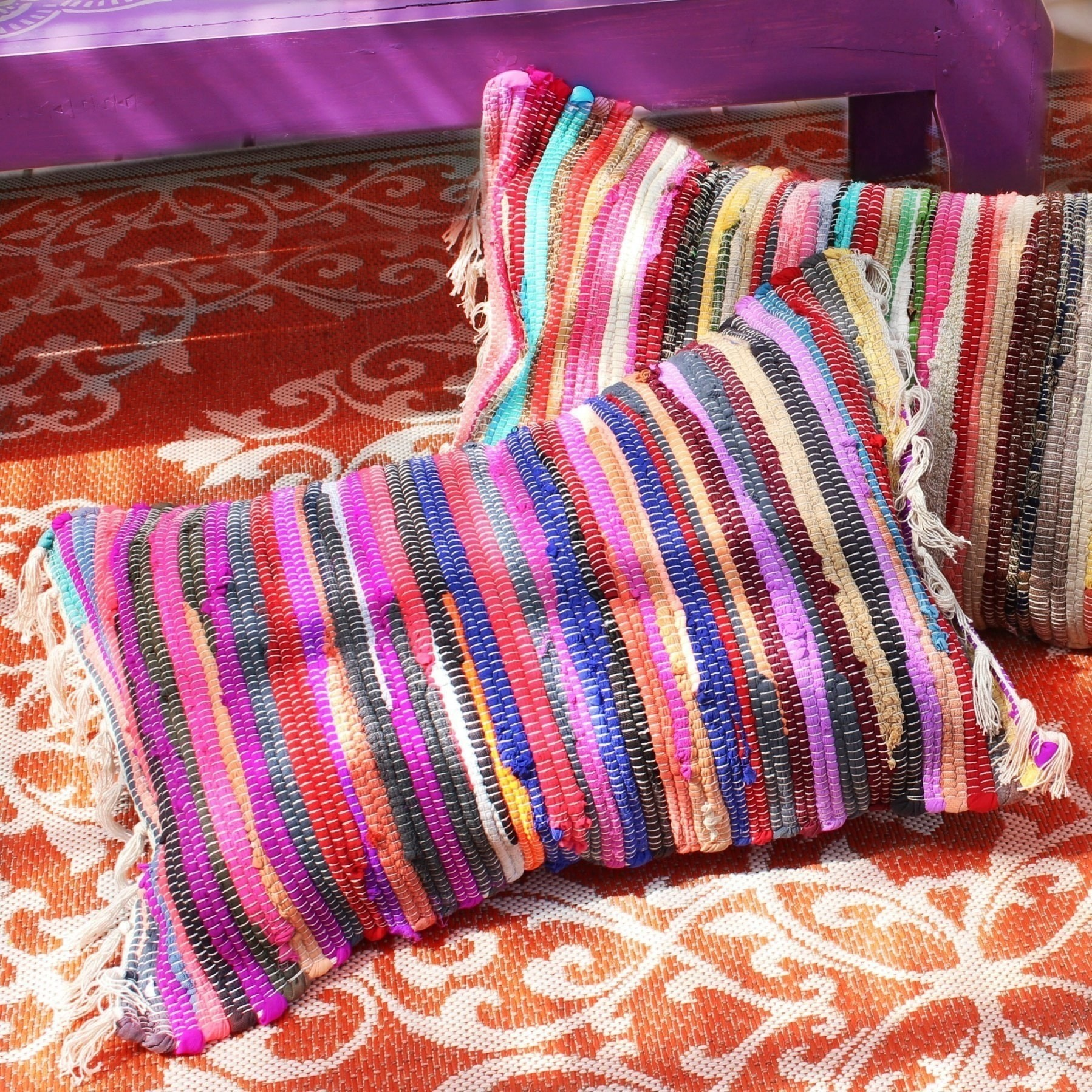 No Sew Rag Rug Pillows ? How To Make A Floor Cushion ? Sewing on Cut Out + Keep