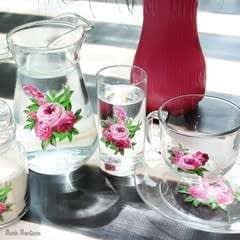 Vintage Floral Glassware