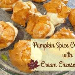 Pumpkin Spice Cream Puffs With Cream Cheese Filling
