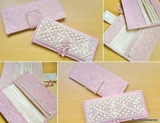 Цветок из ткани - Кошелек из ткани своими руками - Винтажный кошелек своими руками. .  Как сшить сумку из джинсов...