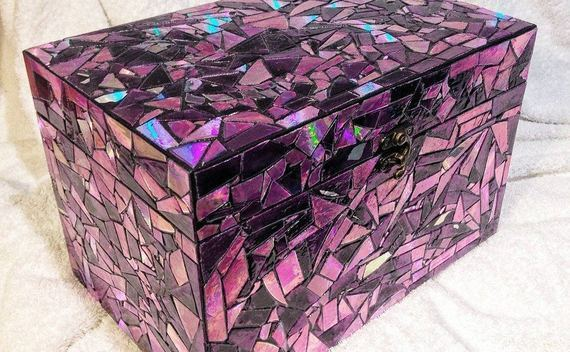 Purple Mirror Mosaic Box