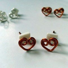 Swirly Heart Studs