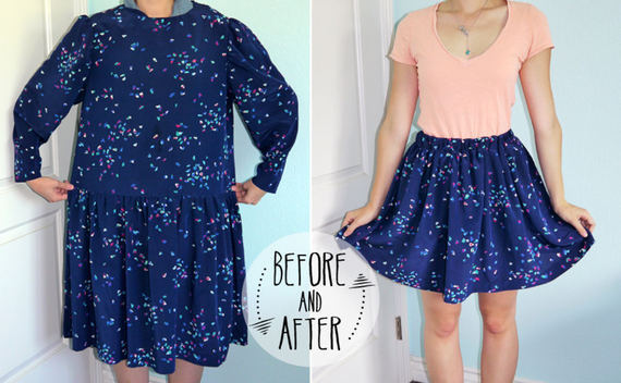 Dress To Skirt Refashion