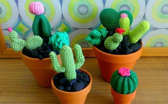 Cute Crocheted Cacti