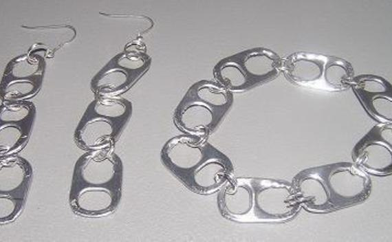 Soda Tab Earrings And Bracelet