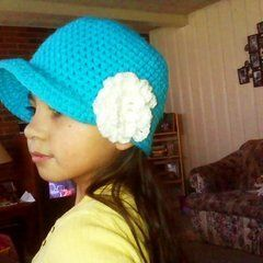 Crochet Hat With Brim And Flower....