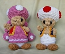 Crochet Toad And Toadette Plushes