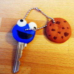Cookie Monster And Cookie: Keycap+Keychain