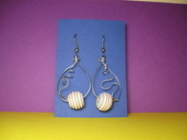 Wire Earrings With A Yellow Blue Bead