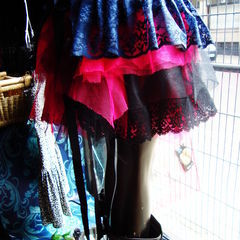 Pink And Black Gothic Net And Lace Skirt