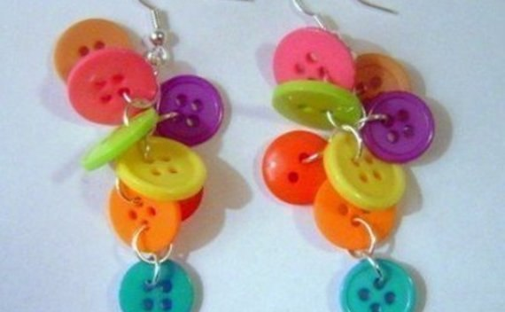 Earrings With Colorful Buttons