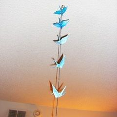 Origami Crane And Bell Ceiling Dangler