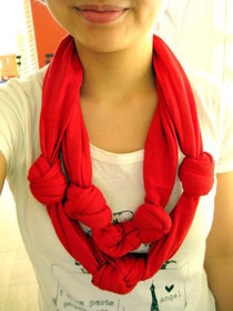 Diy: Knotted Double Layered Scarf From Xl Men's Tee
