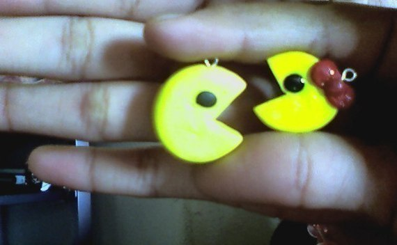 Poylmer Clay Ms. And Mr. Pacman Charms (: