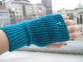 Snazzy Blue Fingerless Gloves