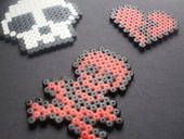 Skull And Broken Heart Hama Pendants (Perler Beads)