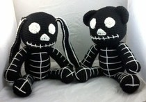 Black Skeleton Bear And Bunny