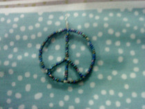 Beaded Peace Sign Pendant