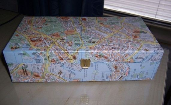 Upcycled Wooden Box With Map