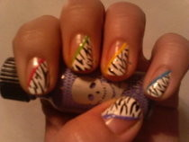  Zebra With Some Color (Nail Art)