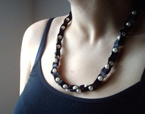 Satin And Pearls Necklace