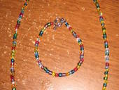 Glass Bead Necklace And Bracelet Set