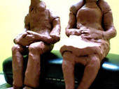 Clay Couple Book End