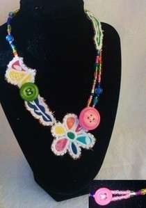Necklace Made From Patches, Buttons, And Beads