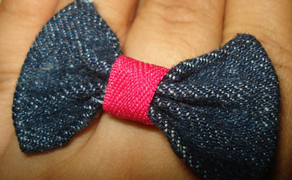 Denim Bow Ring