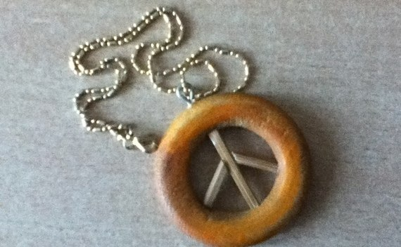 Wooden Peace Pendant