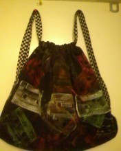 Cassette Print Draw String Bag