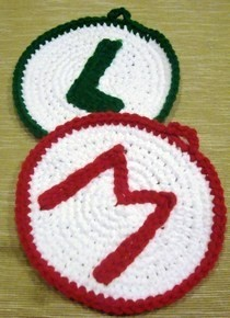 Crocehted Mario And Luigi Emblem Wall Decor