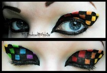 Rainbow Checkered Makeup 