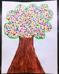 Q Tip Dots Tree Art