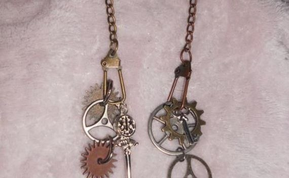 Key And Gears Steampunk Earrings