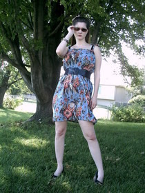 Shirred Print Dress