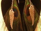 Peacock Feather Earrings With Silver Wings