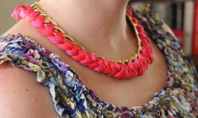 How to make a chain necklace. Diy Woven Chain Necklace - Step 6