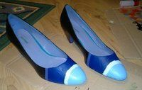 How to paint a pair of painted shoes. Nautical Kitten Heels - Step 5
