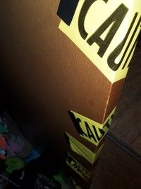 How to make door decor. Caution Tape Doors - Step 2