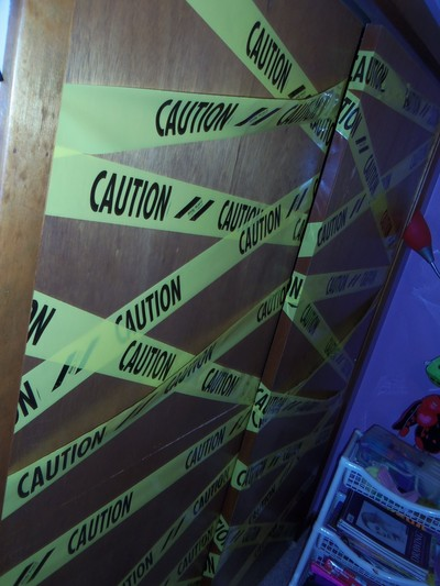 How to make wall decor. Caution Tape Doors - Step 4