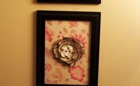 Framed Burnt Fabric Flowers!