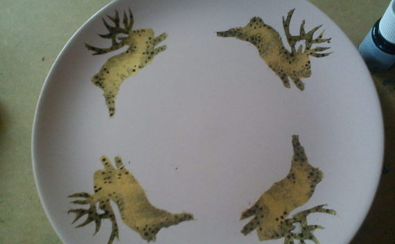 Stencil On Plates With Jackalope.