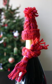 How to sew a piece of doll clothing. Holiday Wine Bottle Hat & Scarf - Step 1